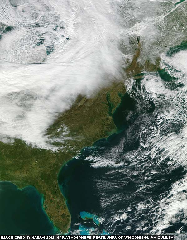 A 'true-color' image of the Eastern United States taken on January 19, 2012. This image was taken between 5:57 pm USA EST and 6:04 pm USA EST. (Image credit: NASA/Suomi NPP/Atmosphere PEATE/Univ. of Wisconsin-Madison/Liam Gumley)