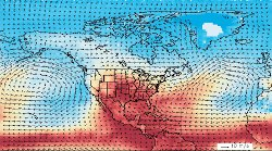 Note the hot tropical air being pumped towards Texas and Oklahoma. (Credit: NASA/Goddard Earth Science Data and Information Center)
