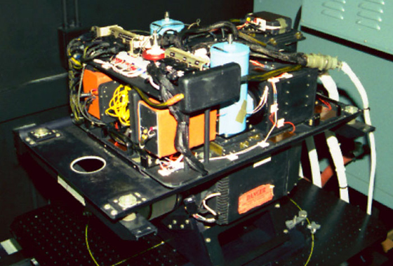 The MODIS/ASTER airborne simulator, or MASTER, instrument, shown here in a calibration lab at NASA's Jet Propulsion Laboratory, was carried on NASA's DC-8 and ER-2 aircraft to collect remote sensing data that measured evapotranspiration from almond orchards in California's San Joaquin Valley. Credit: NASA Jet Propulsion Laboratory.