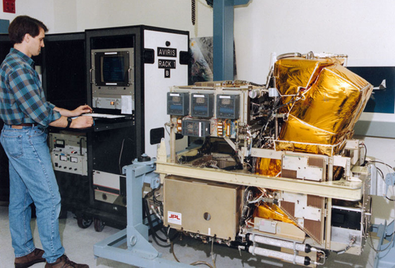 The NASA-developed Airborne Visible/Infrared Imaging Spectrometer, or AVIRIS, shown here undergoing pre-flight checkout, was carried aboard NASA's high-flying ER-2 to monitor the diurnal evapotranspiration and vegetation canopy water content changes. Credit: NASA Ames Research Center.