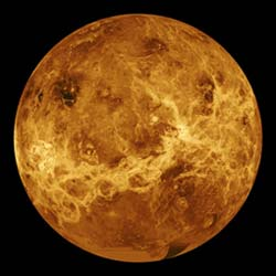 <b>Too much greenhouse effect:</b> The atmosphere of Venus, like Mars, is nearly all carbon dioxide.  But Venus has about 300 times as much carbon dioxide in its atmosphere as Earth and Mars do, producing a runaway greenhouse effect and a surface temperature hot enough to melt lead.