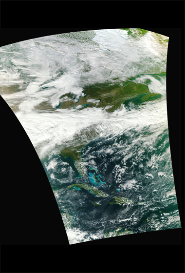 A high-resolution version of the first VIIRS image created the NASA NPP Team at the Space Science and Engineering Center, UW-Madison. Credit: NASA/NPP Team.