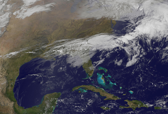 This GOES-13 satellite image was captured on March 1, 2012 at 1301 UTC (8:01 a.m. EST). The clouds associated with the powerful weather front that generated severe storms on Feb. 29, were now located over the southeastern U.S. from eastern Texas, east to the Carolinas. Severe weather is possible again today from the Ohio Valley to the Tennessee Valley and east to the Atlantic Ocean. Credit:NASA/NOAA GOES Project.