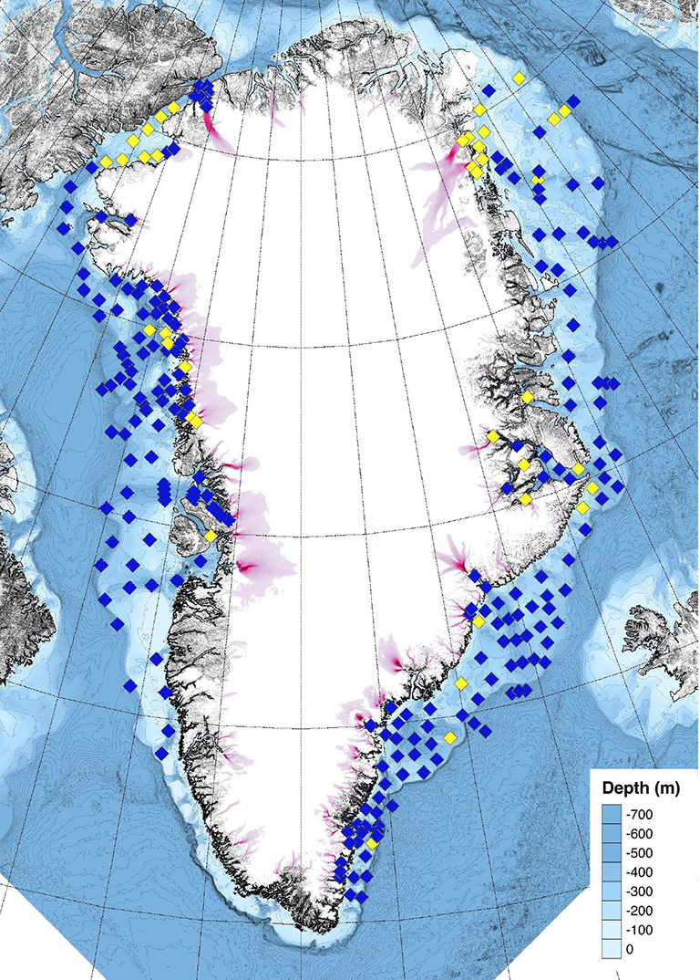 Greenland probe drop sites