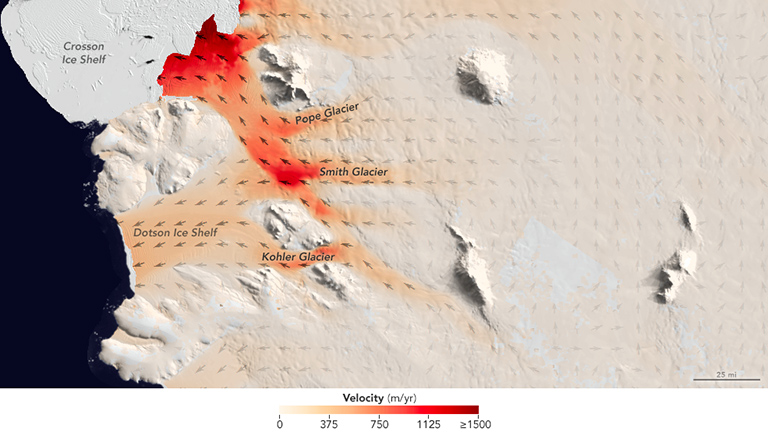 Flow speeds of Pope, Smith and Kohler glaciers.
