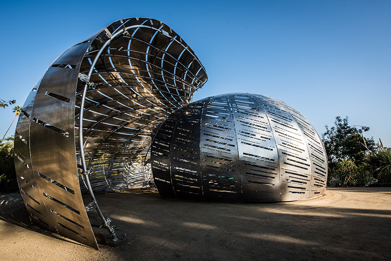 The exterior of the Orbit Pavilion.