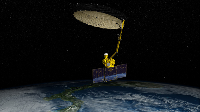 Artist's rendering of NASA's Soil Moisture Active Passive satellite.