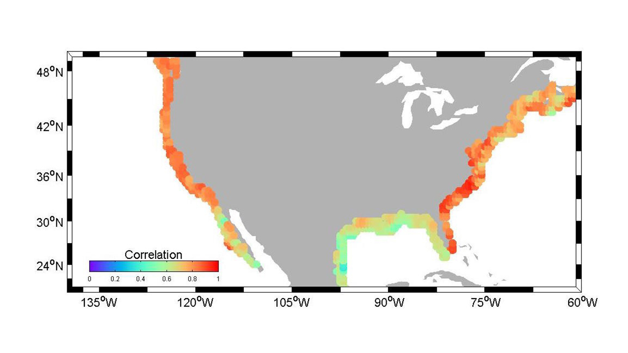 Correlations in U.S. coastal sea level rise between the new sea level indicator tool and reconstructed decade-scale estimates of sea level.