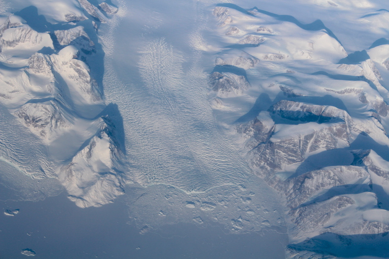 Aerial shot of a Greenland fjord