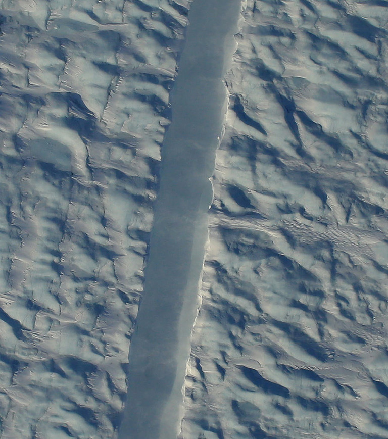 Operation IceBridge flew over a new crack in Petermann Glacier, one of the largest and fastest-changing glaciers in Greenland, on April 14, 2017, just a few days after the rift was detected in satellite imagery.