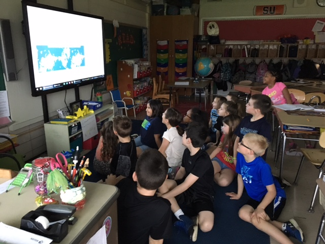A class of third grade students at Cobbles Elementary School in Penfield, New York, and their teacher, Terri Ercole, tracked the position of the NASA P-3 over the Arctic and participated in several live chats with the IceBridge team members while the researchers were flying onboard the P-3 this spring.