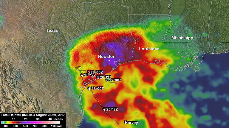Total rainfall estimates from NASA's Integrated Multi-satellitE Retrievals for GPM (IMERG) data