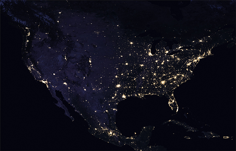 U.S. at night