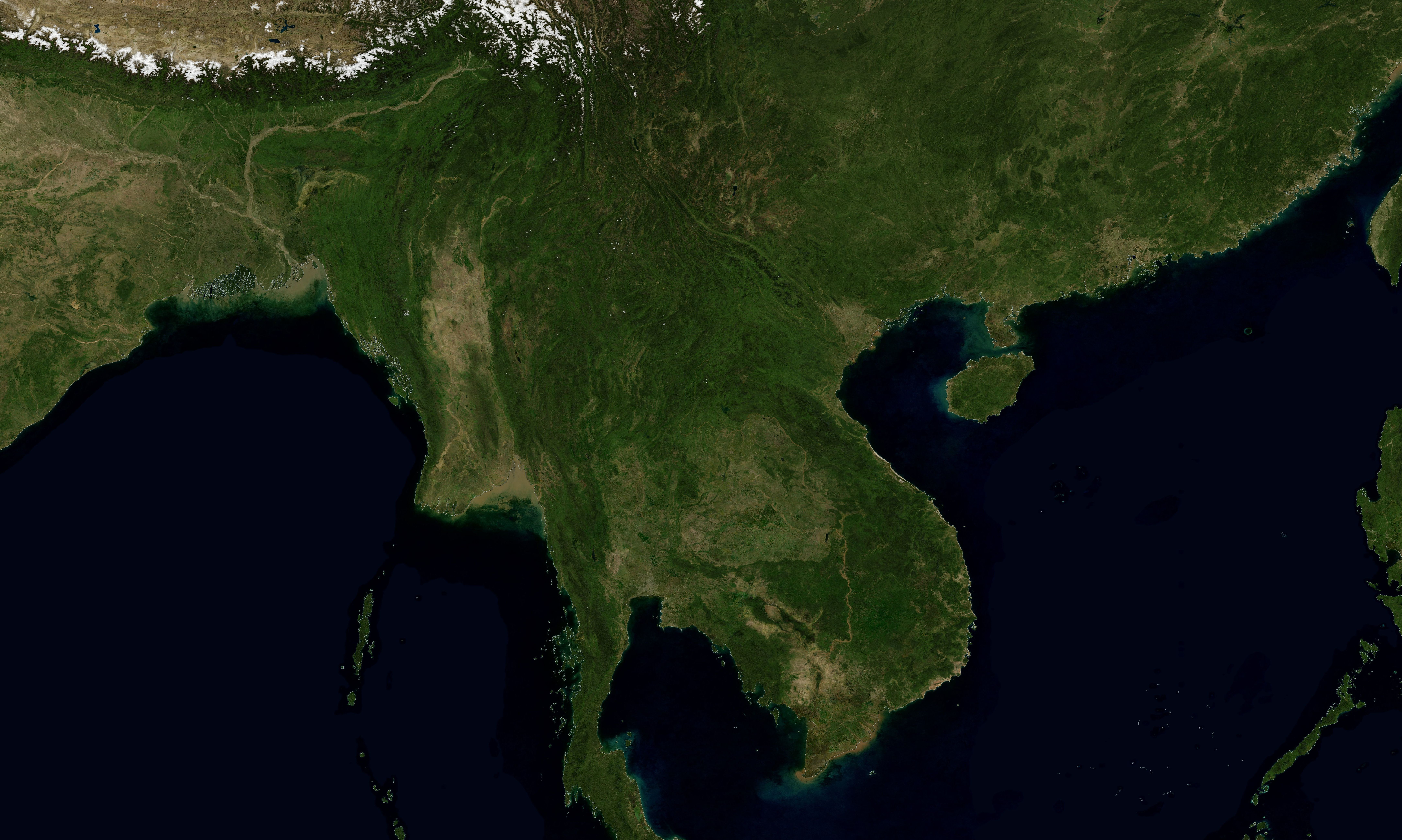 A satellite-based rendering of the Mekong River in Southeast Asia.
