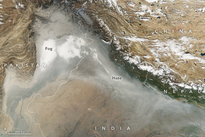 Smoke and haze in the Indo-Gangetic Plain. (NASA Earth Observatory image by Joshua Stevens, using data from the Land Atmosphere Near real-time Capability for EOS.)