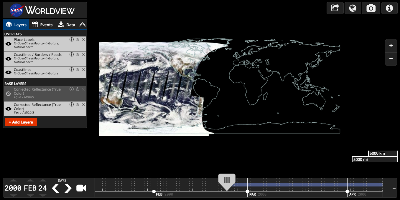 Worldview screenshot of first day Terra MODIS data were collected