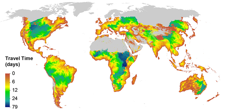 Global map of the minimum times it takes flood waves to exit the global river network.