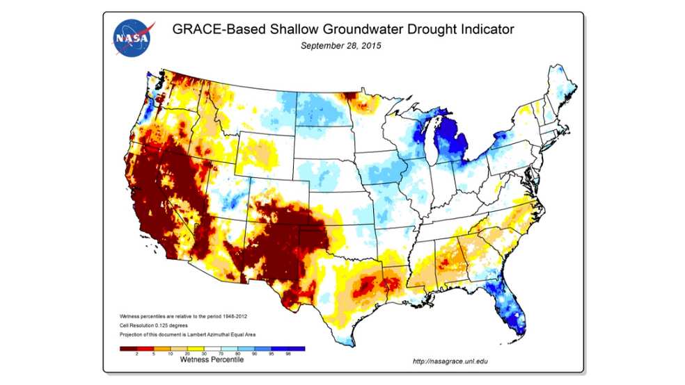 Drought map with red indicating drought in California and the American West.