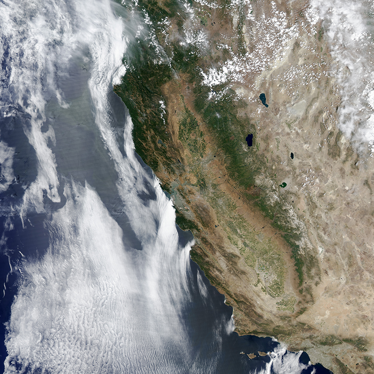 A view of California taken in 2014, showing impacts of drought season on the state.