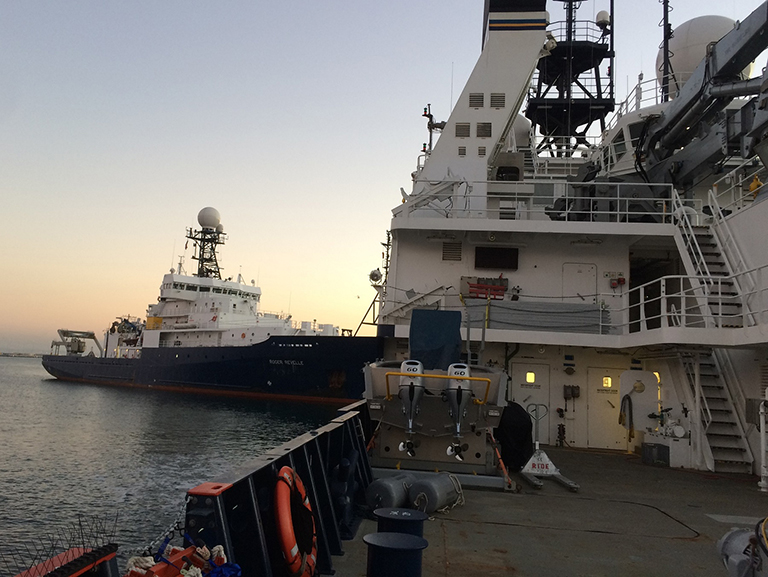 The R/V Revelle (left) and the R/V Sally Ride will leave Seattle for a month-long expedition in the northeast Pacific, where a multidisciplinary team of scientists will study the life and death cycles of phytoplankton and plankton for the benefit of future ocean satellite missions.
