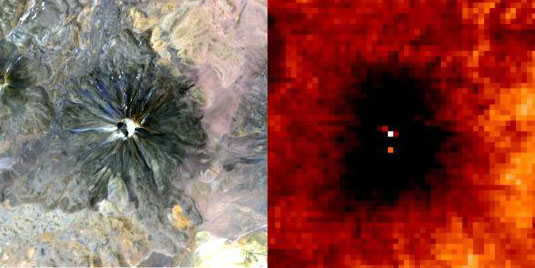 Thermal imaging reveals hot spots next to a true-color image of a volcano.