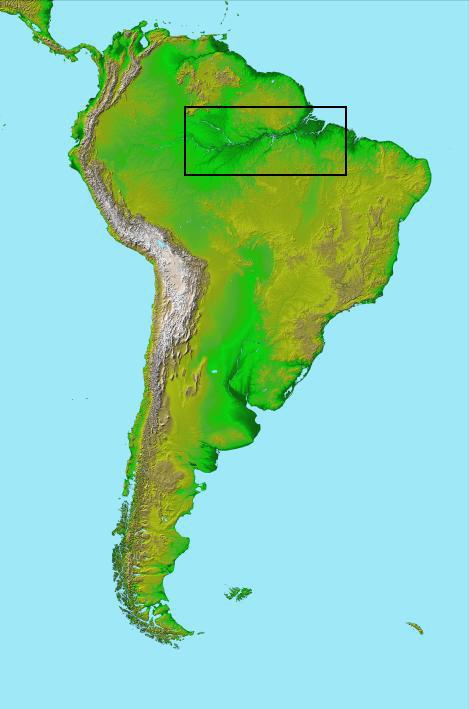 South America is shown with a box around the Amazon River.