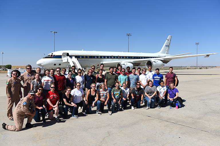 SARP participants, pilots, and flight specialists after their third and longest flight on the DC-8 on June 26, 2018. Credit: NASA/Megan Schill