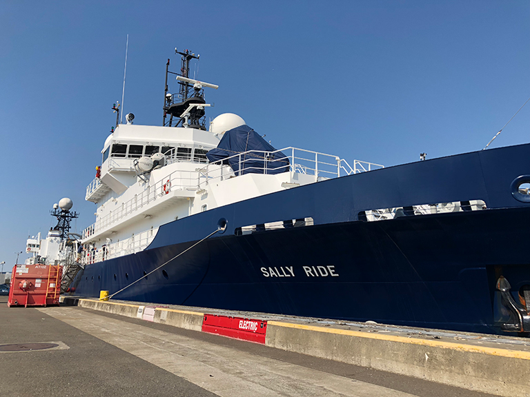 The R/V Sally Ride, operated by the Scripps Institution of Oceanography, anchored at Pier 91 in Seattle before departing for the northeastern Pacific Ocean on Thursday, Aug. 9.