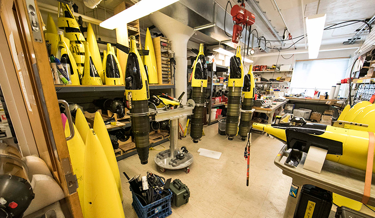 For EXPORTS, scientists are deploying robotic explorers, like these from the Applied Physics Lab at the University of Washington. They are traveling with the ships, taking measurements at various depths.