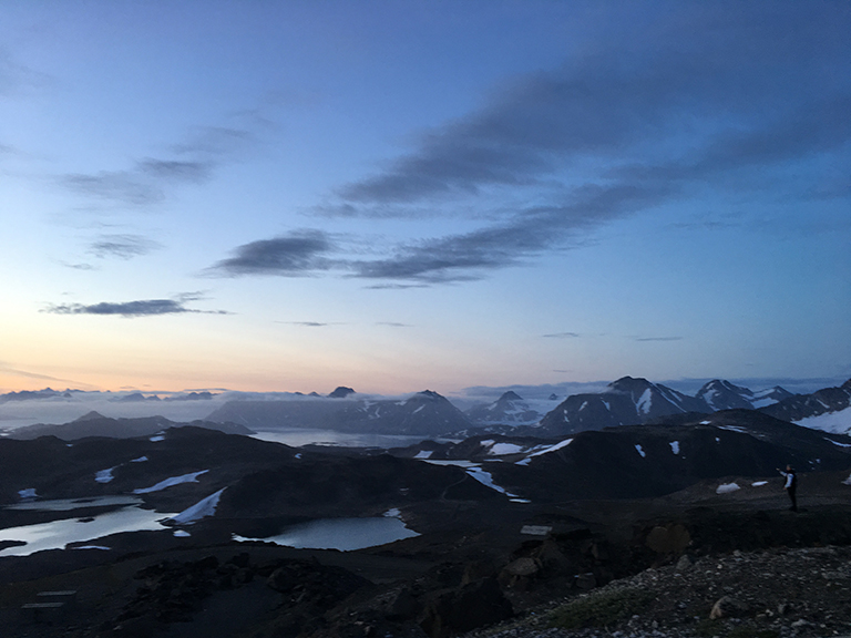 Sunset over Kulusuk, Greenland.