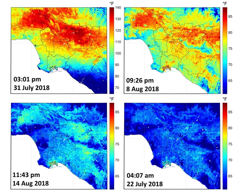 ECOSTRESS imagery shows surface temperature variations in Los Angeles, California between July 22 and August 14 at different times of day. Hot areas are shown in red, warm areas in orange and yellow, and cooler areas in blue.