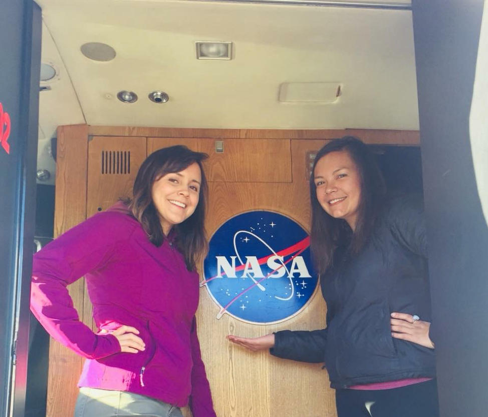 University environmental science students Joanne Spearman and Mandy Bayha, from the Northwest Territories in Canada, inside NASA's Gulfstream III jet during an ABoVE flight.