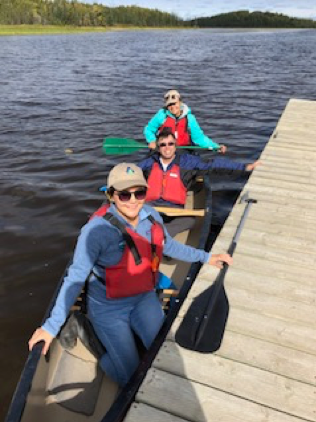 University of Massachusetts Amherst scientist Paul Siqueira enjoyed the last canoe ride of the day with Joanne Speakman and Mandy Bahya.