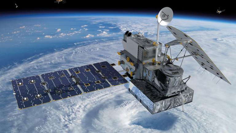 Artist's rendering of NASA's Global Precipitation Measurement core satellite orbiting Earth. Credit: NASA