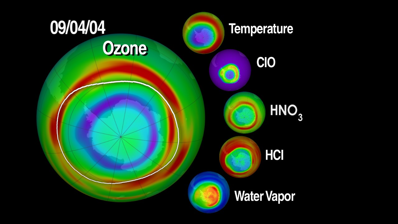MLS observes the details of ozone chemistry by measuring many radicals, reservoirs, and source gases in chemical cycles that destroy ozone.