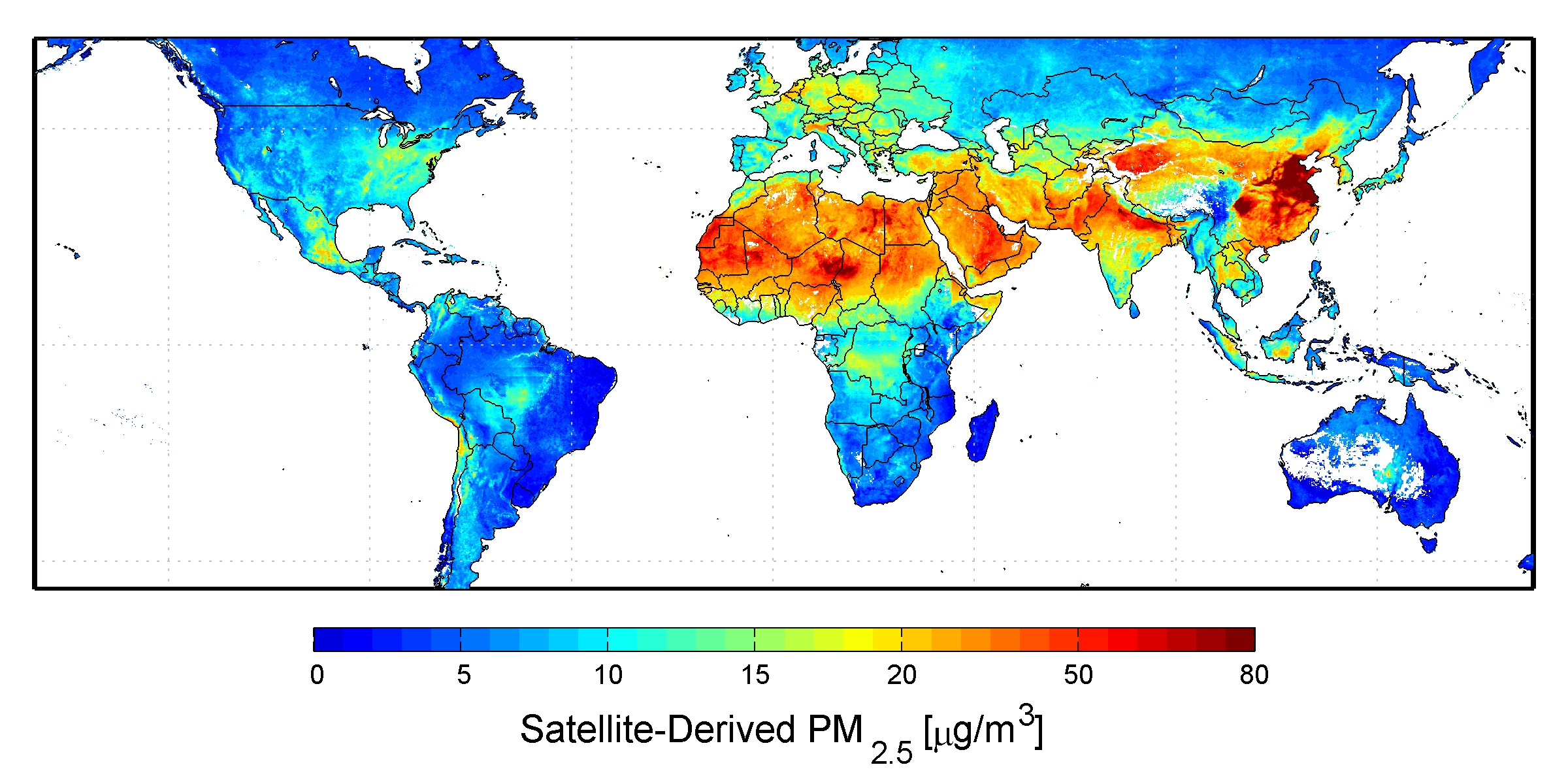 Global satellite-derived map of PM2.5 averaged over 2001-2006.