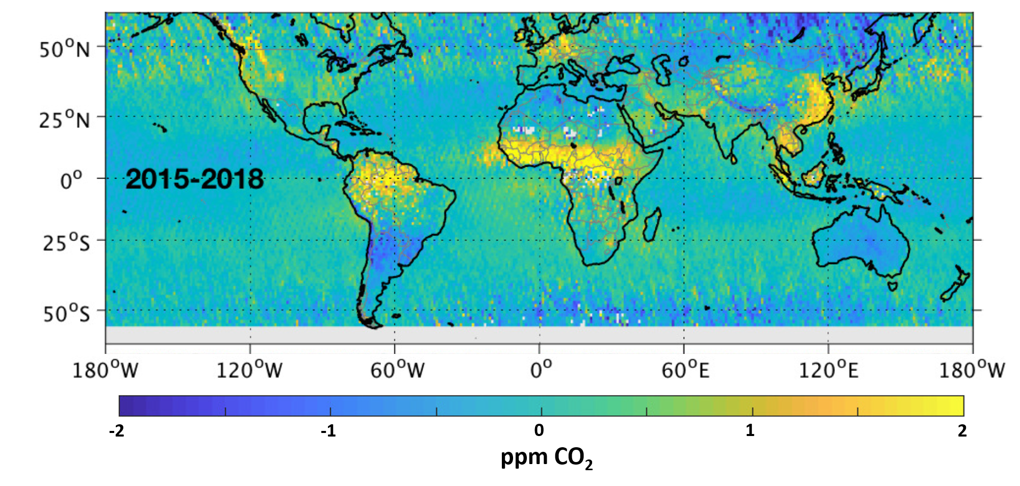 OCO-2 image of persistent CO2 anomalies around the globe
