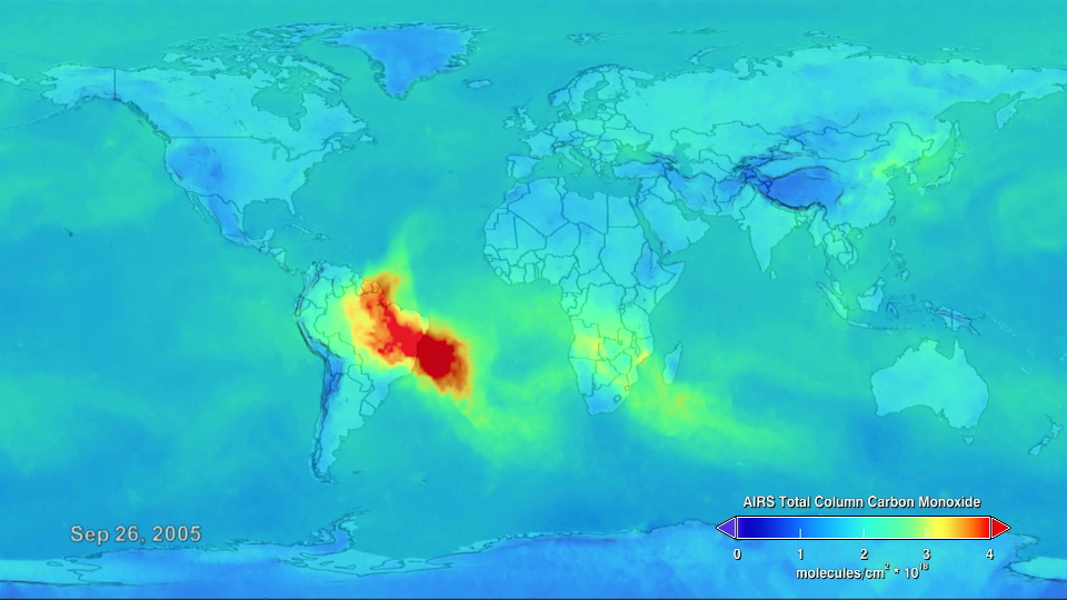 The streak of red, orange, and yellow across South America, Africa, and the Atlantic Ocean in this animation points to high levels of carbon monoxide