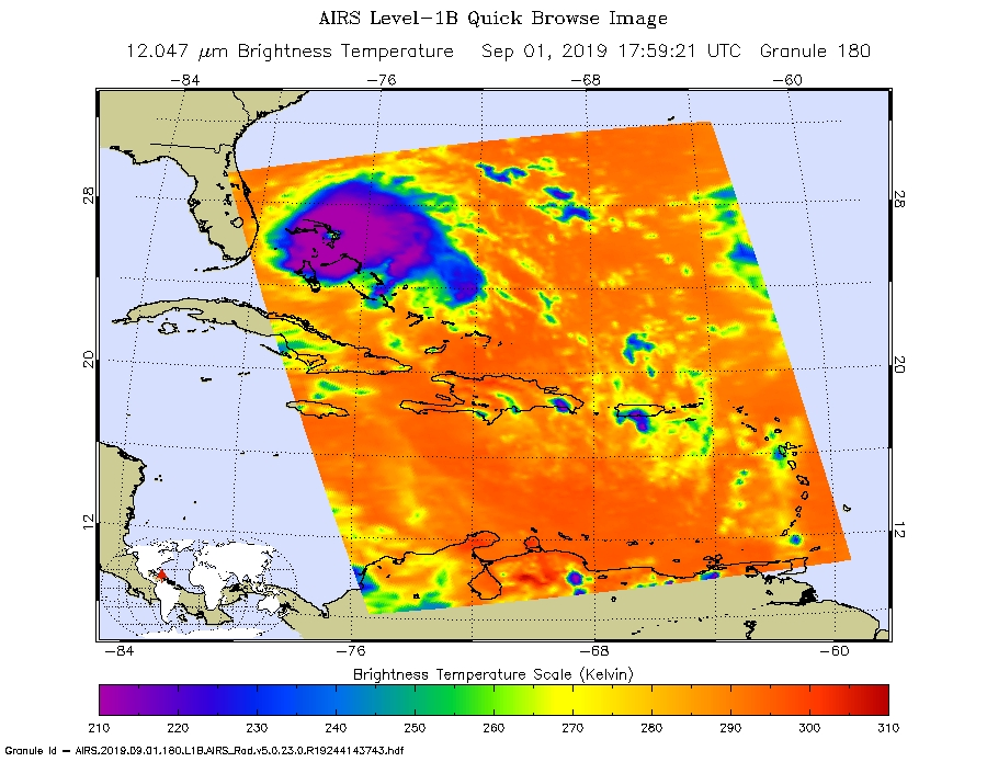false-color infrared hurricane dorian