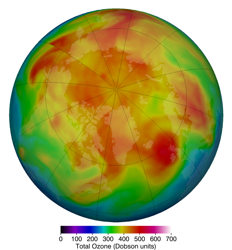 March 12, 2019, shows in reds and yellows the higher concentration of stratospheric ozone over the Arctic which are much more typical from year to year.