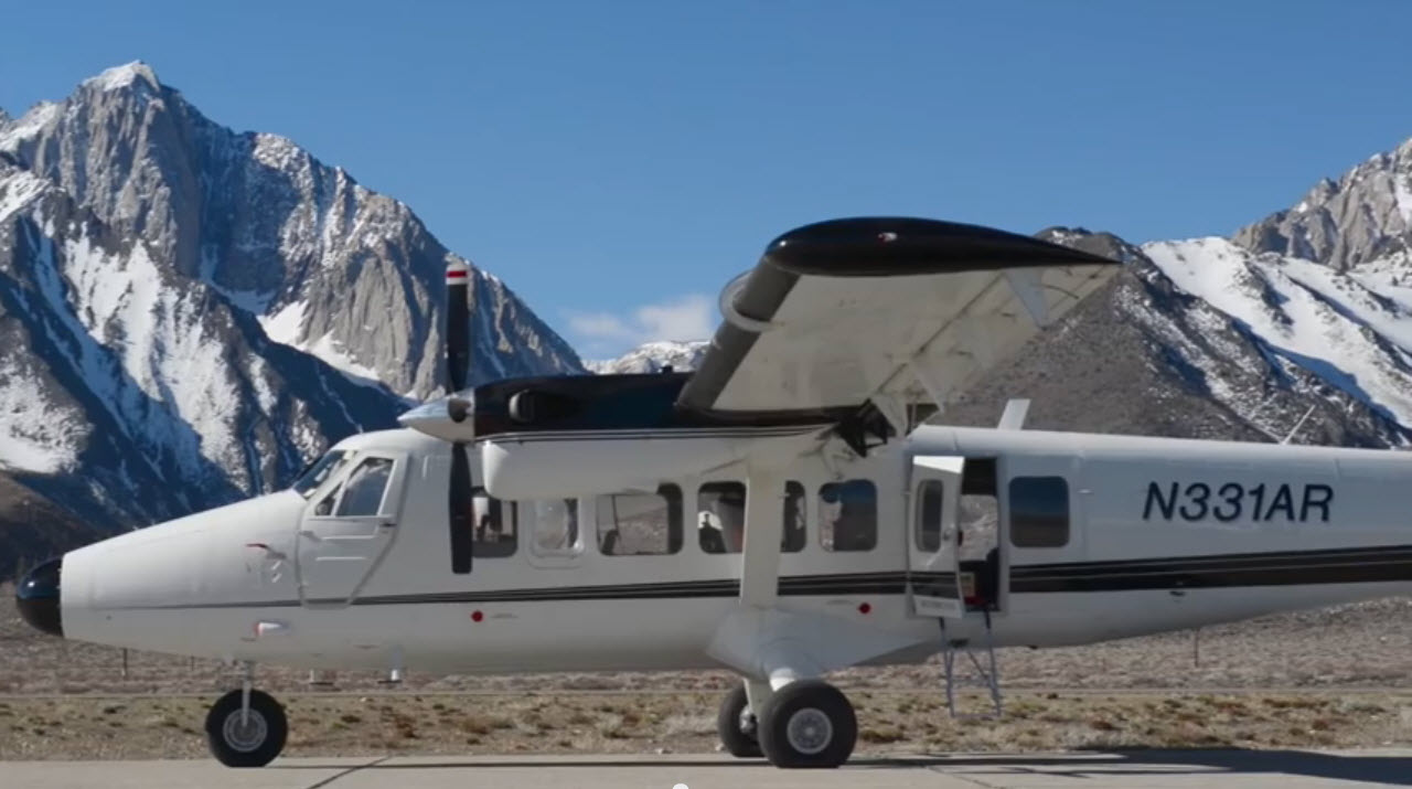 One of the two Twin Otter aircraft used by the Airborne Snow Observatory mission to study snowpack in the Western U.S.