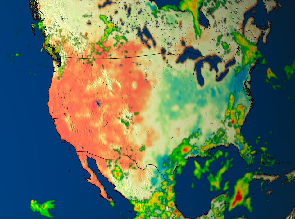 A data visualization of the western U.S. showing SMAP and IMERG data.