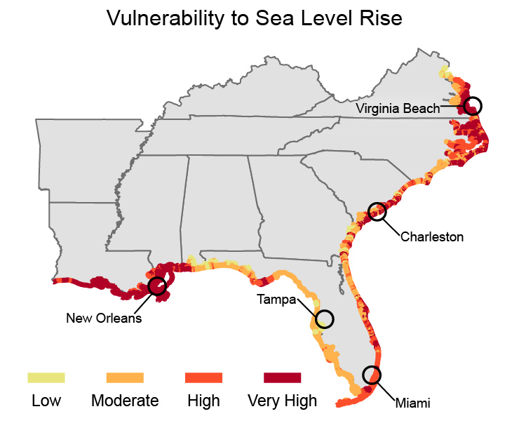 sea level risk along U.S. Southeast coastlines