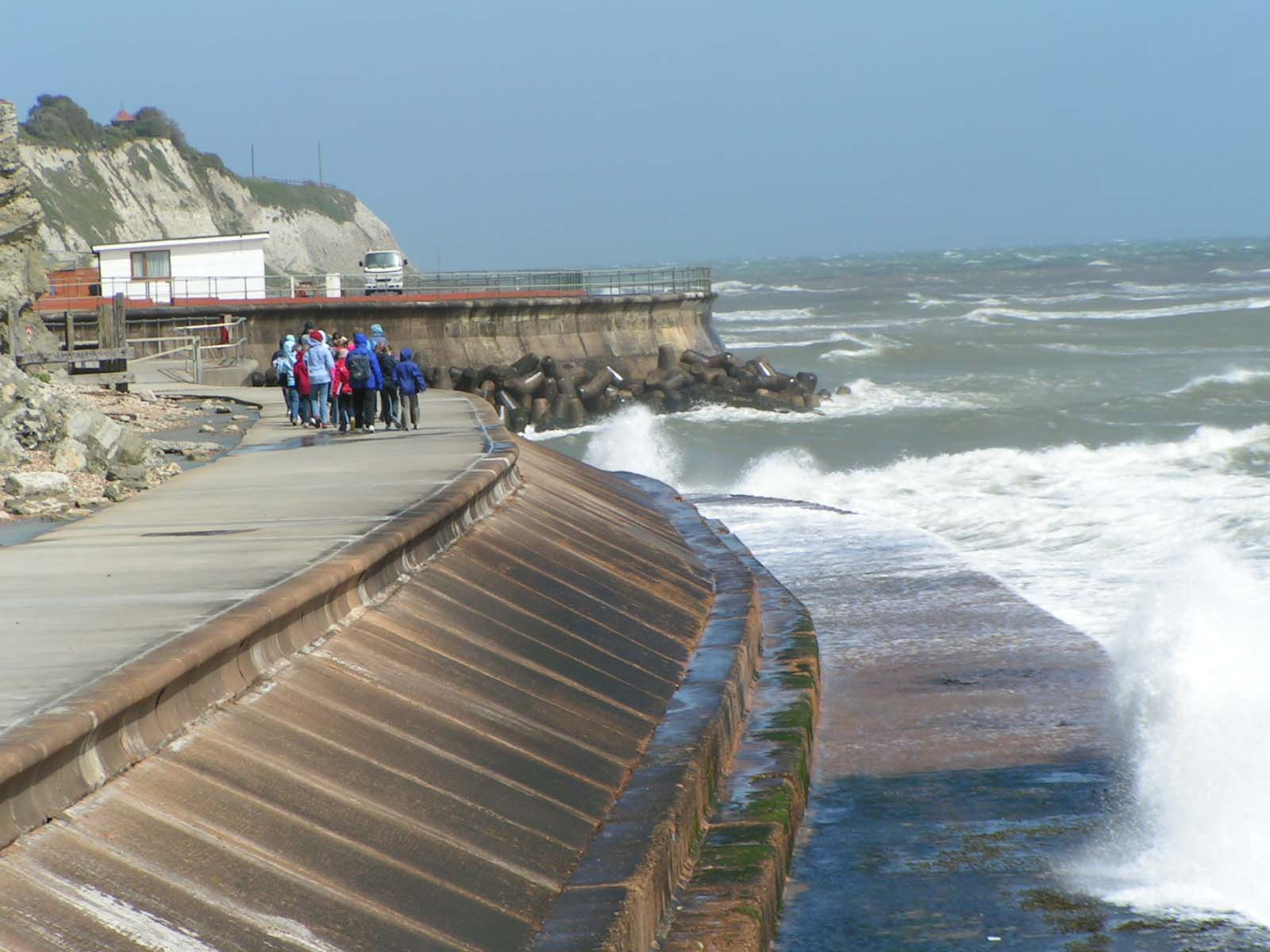 modern seawall in England