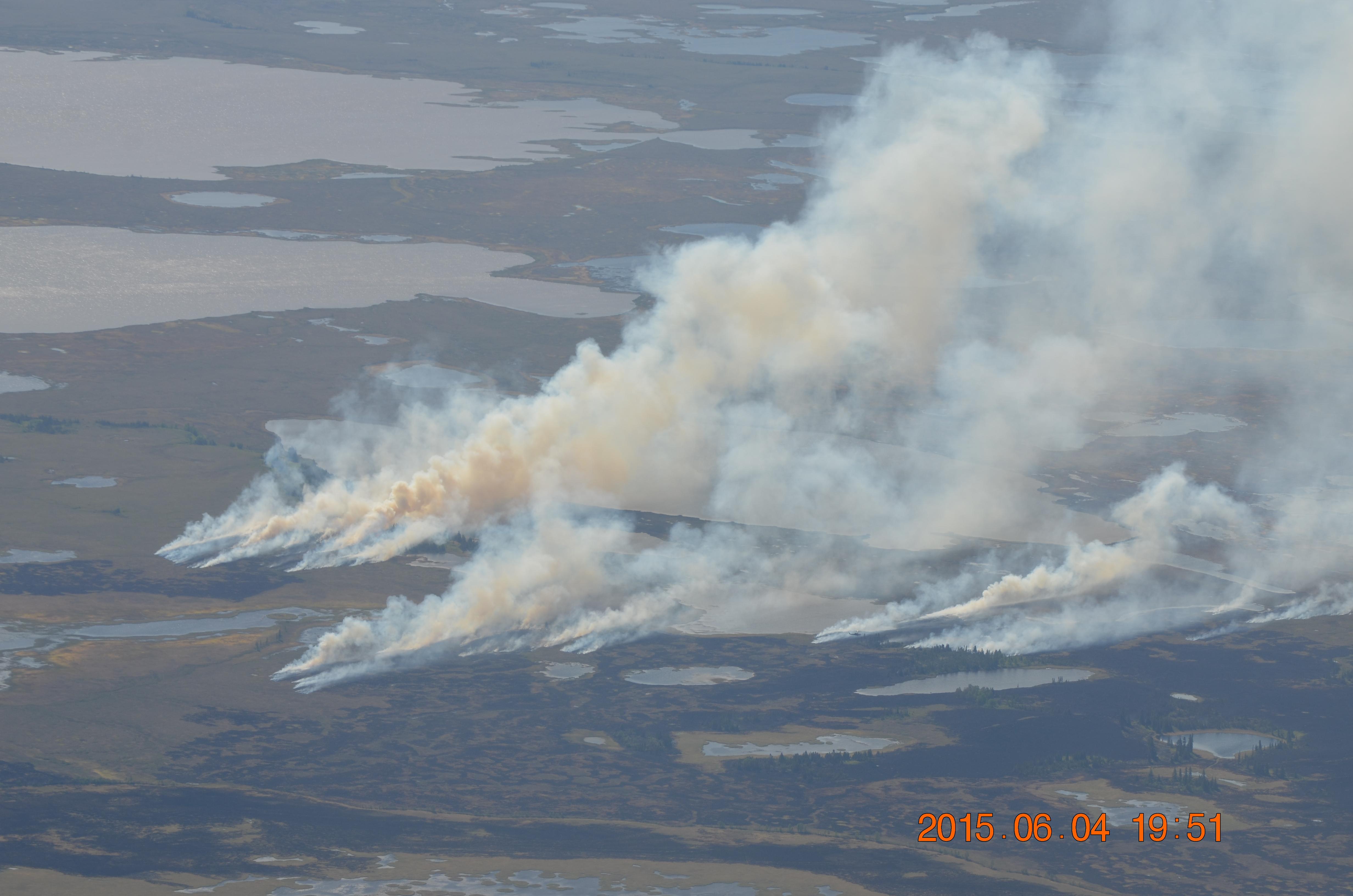 Multiple wildfires burning near Aniak, Alaska, in June 2015.