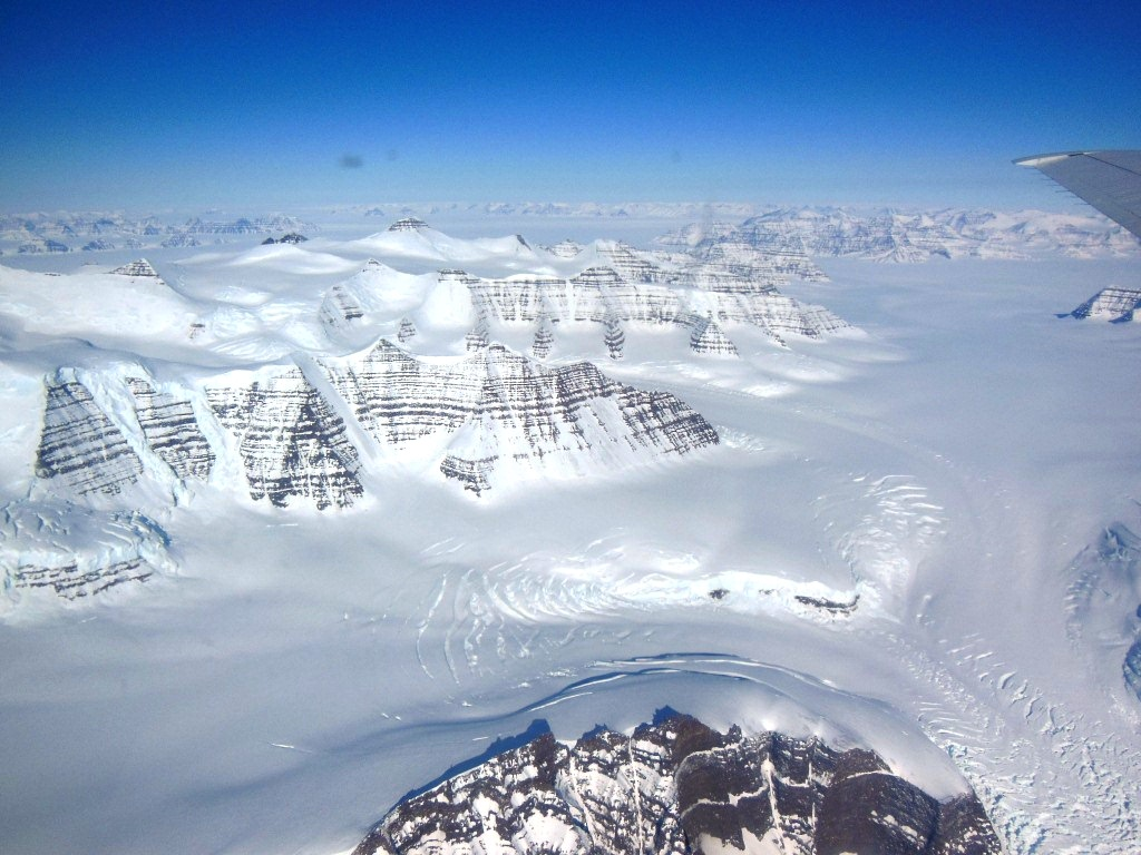 A glacier between mountains in Greenland's Geikie Peninsula