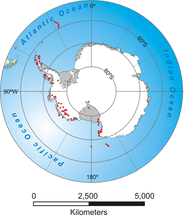 Map of Antarctica showing the distribution of volcanoes aged between c. 11 Ma and present. Only a small number are active.