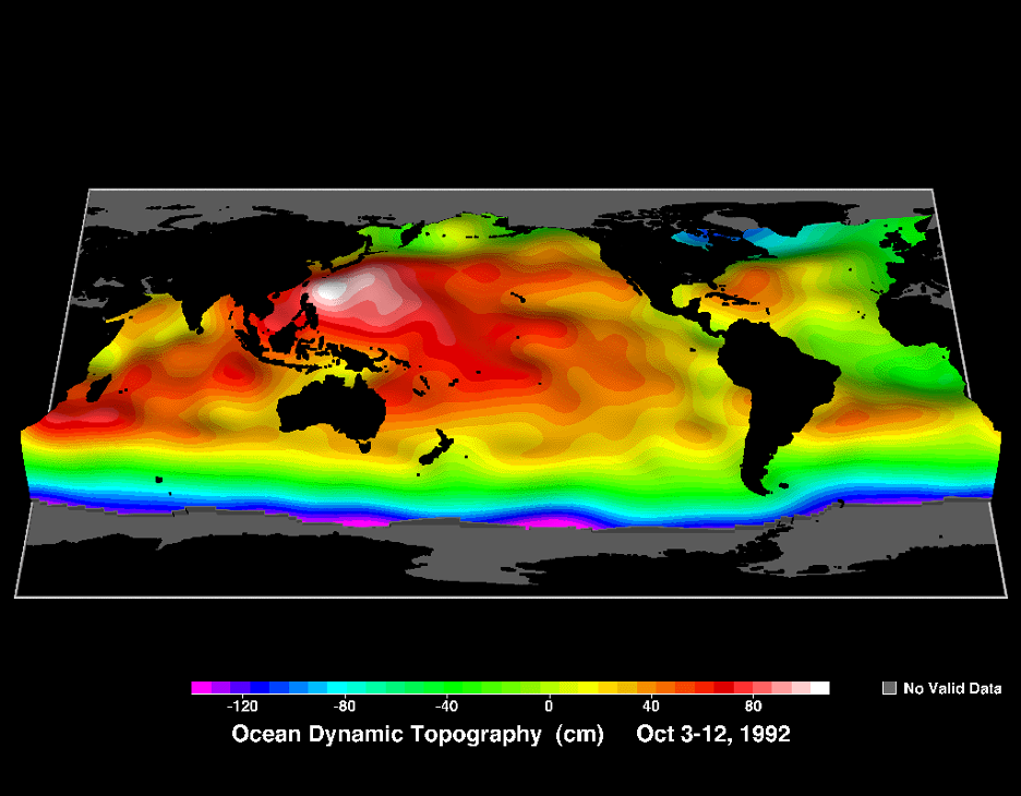 Dynamic ocean topography map