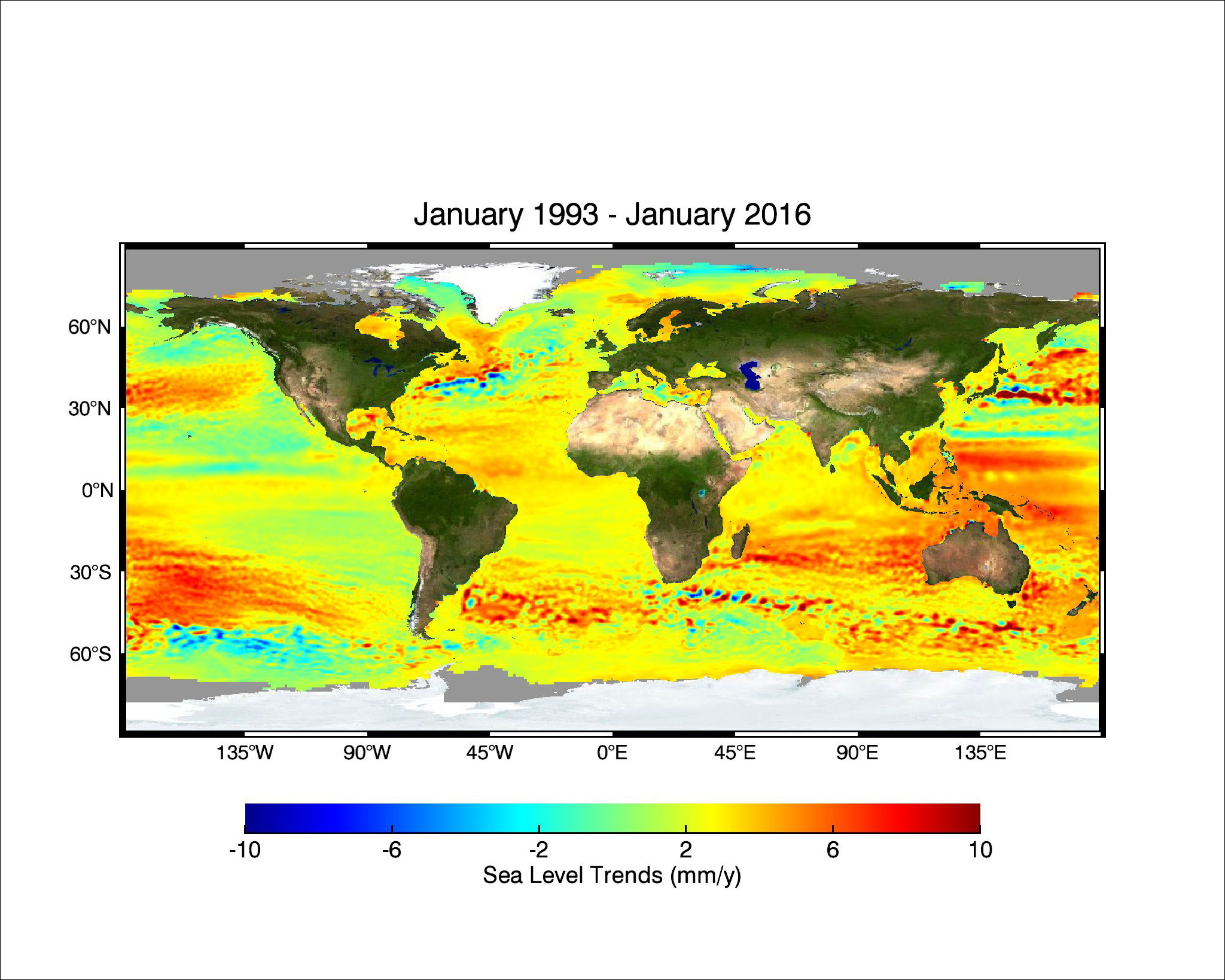 23-year trend of rising seas across the globe from 1993 to 2016