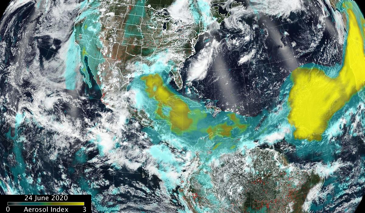 aerosol data image overlaid on visible Earth image